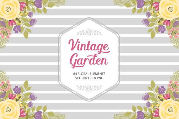 Vintage Garden Set Vector PNG