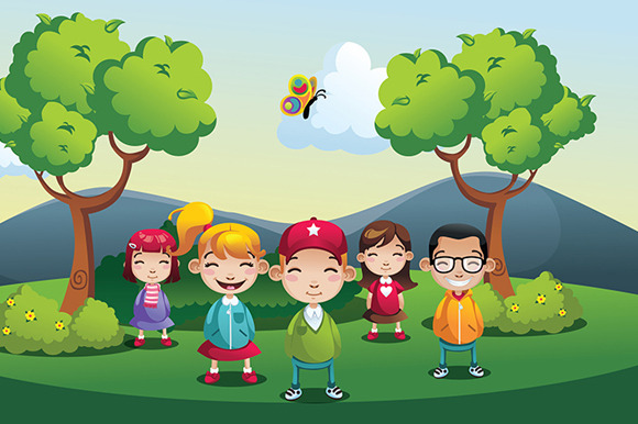 Cartoon Park Kids Boys And Girls