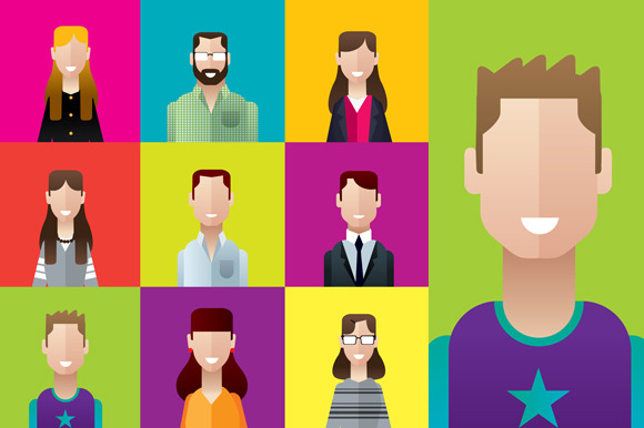 Profile Icons Casual People Squares