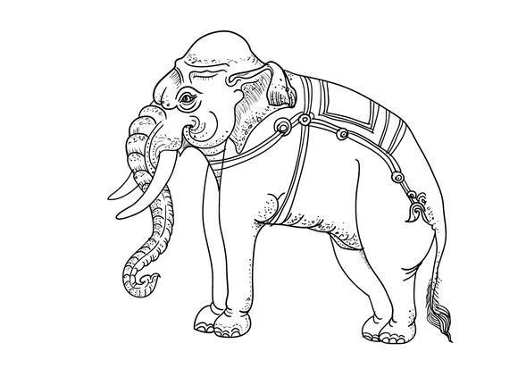 White Elephant Traditional Thai Art