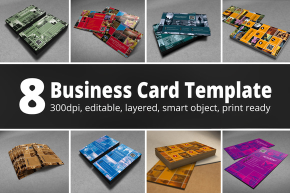 8 Business Card Template