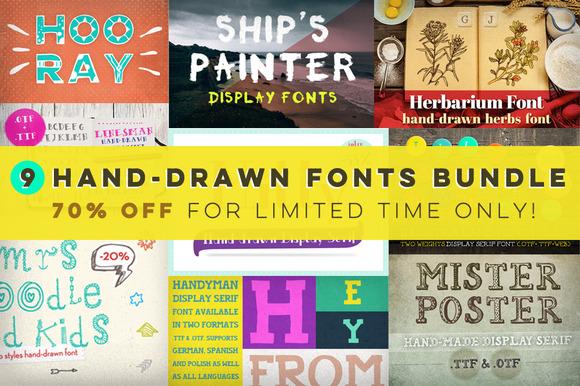 9 Hand-drawn Fonts Bundle