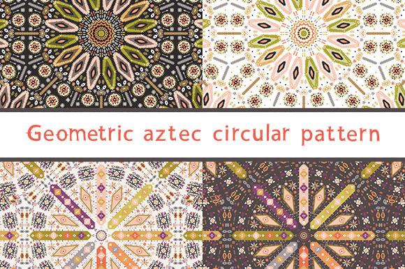 Circular Set Of Aztec Patterns