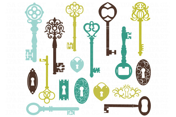 Vintage Keys Silhouette ClipArt
