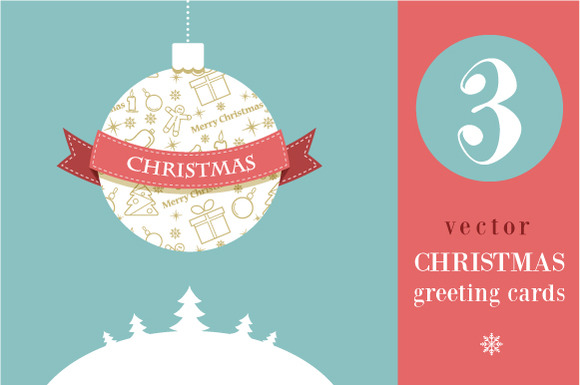 3 Christmas Greeting Cards Vector