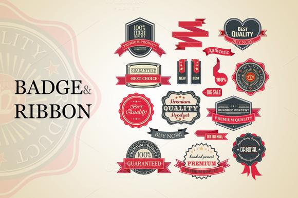 Badge And Ribbon Vector Set
