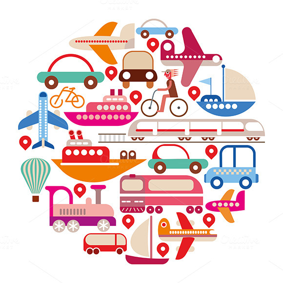 Travel And Transport Round Vector