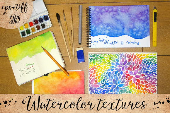 Bright Watercolor Backgrounds Set
