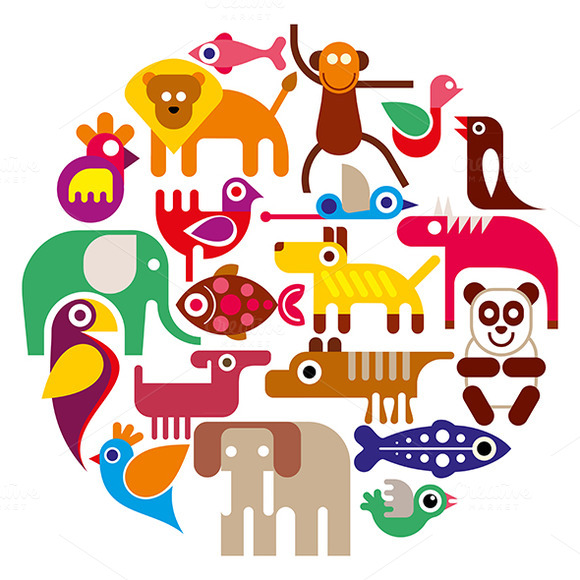 Zoo Animals Round Vector Illustrat