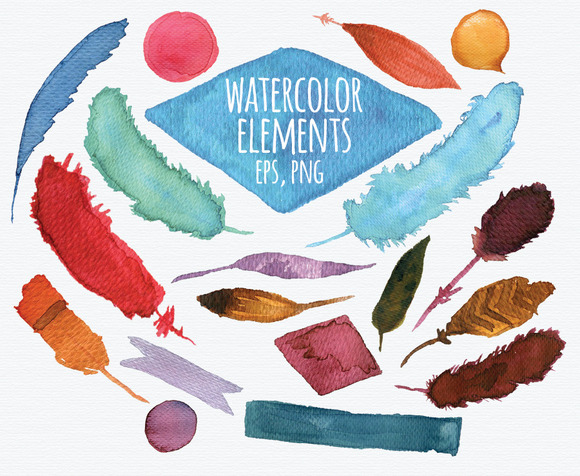 Feathers Watercolor Elements