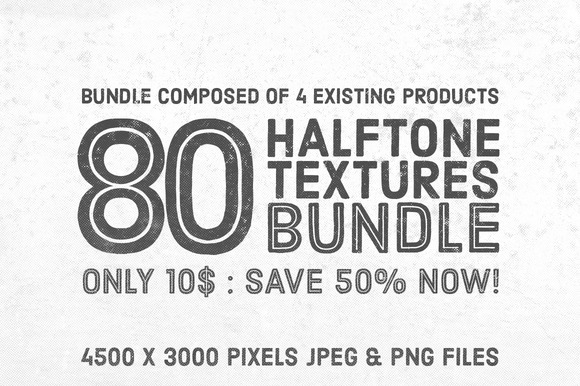 50% OFF 80 Halftone Textures Bundle