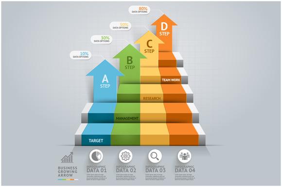Business Arrow Step Infographics