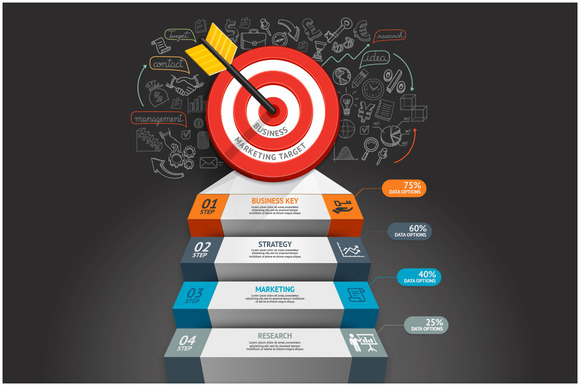 Business Target Stair Infographics