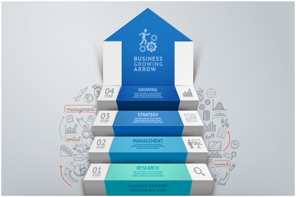 Business Arrow Staircase Infographic