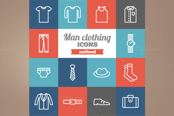 Outline Man Clothing Icons