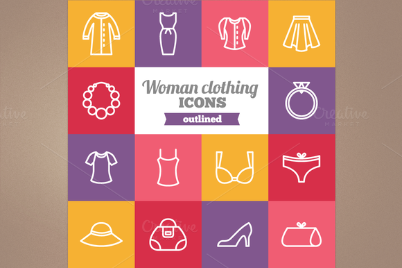 Outline Woman Clothing Icons