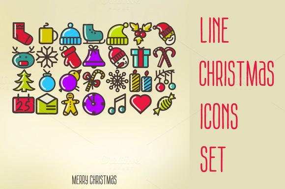 Line Christmas Icons Set
