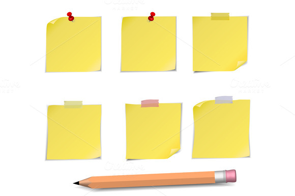 Adhesive Notes With Pin And Pencil