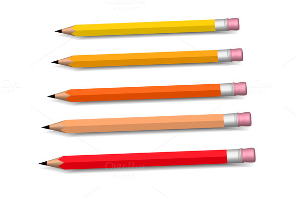 Multicolored Pencils Growing Row