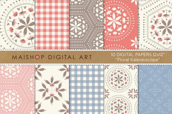 Digital Paper Floral Kaleidoscope