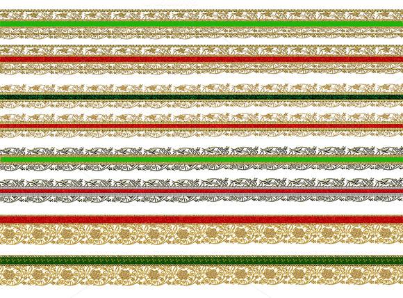 Christmas Gold Lace Ribbon Borders