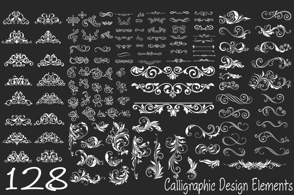 128 Calligraphic Design Elements
