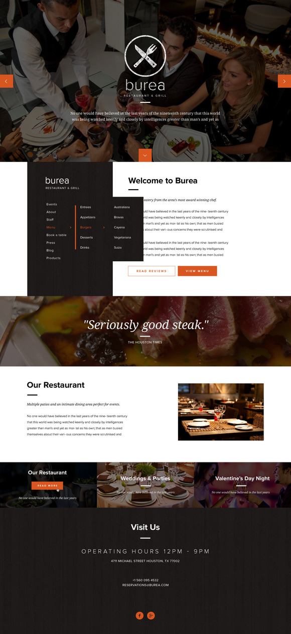 Burea PSD Template For Restaurants