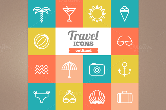Outlined Travel Icons