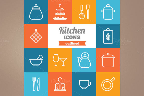Outlined Kitchen Icons