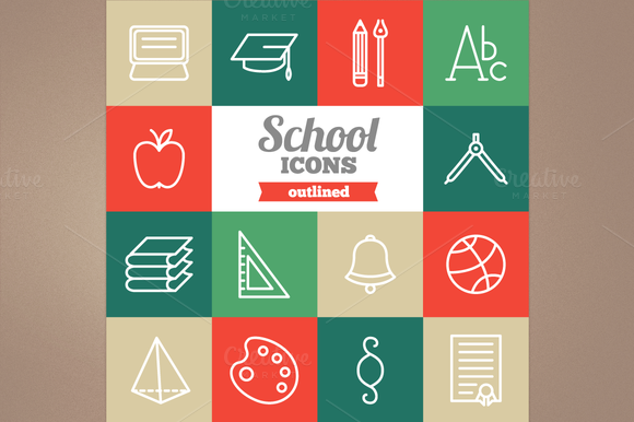 Outlined School Icons
