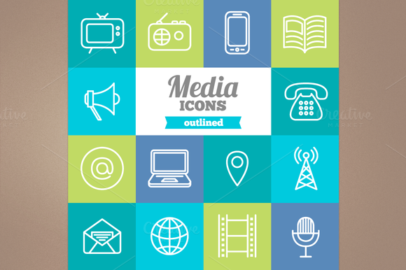 Outlined Media Icons