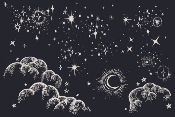 Star Moon Cloud Sky Drawings