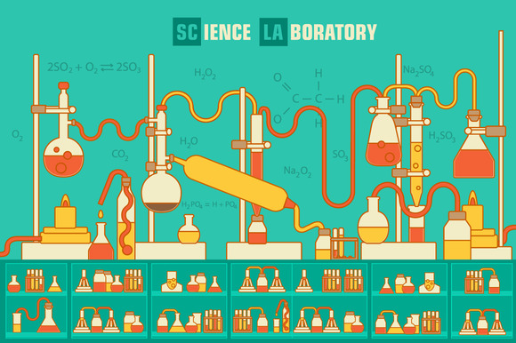 Retro Science Laboratory Vector