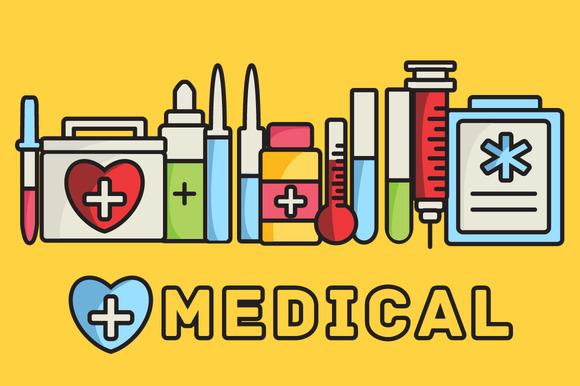 Medical Equipment Icons Background