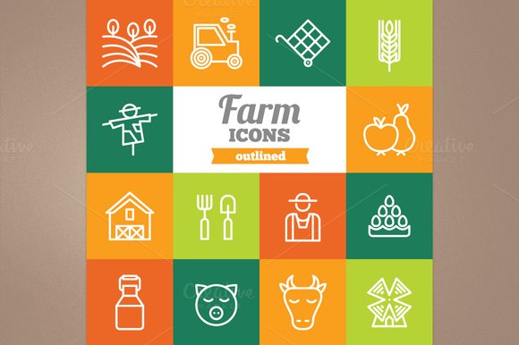 Outlined Farm Icons