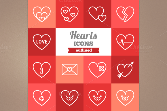 Outlined Hearts Icons