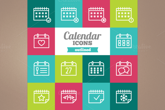 Outlined Calendar Icons