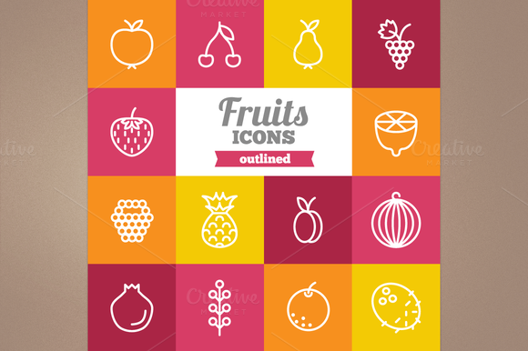 Outlined Fruits Icons
