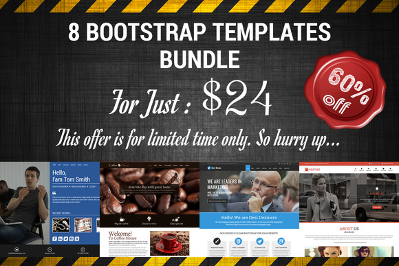 Bootstrap 8 Templates Bundle For $24