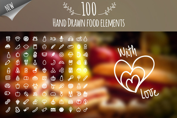 Hand Drawn Food Elements With Love