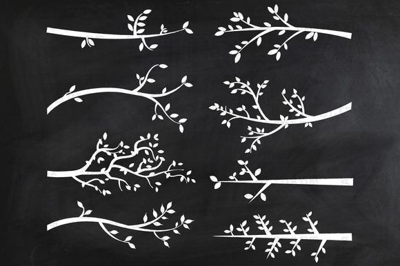 Chalkboard Branch SilhouettesClipart