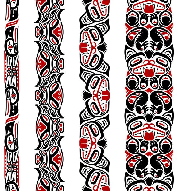 Haida Styled Seamless Pattens