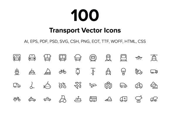 100 Transport Icons