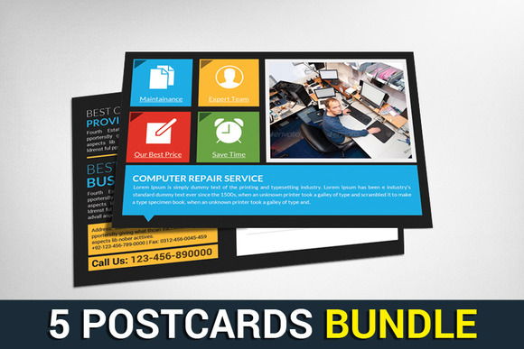 5 Corporate Business Postcard Bundle