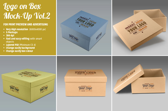 5 Photorealistic Logo On Box Mockups