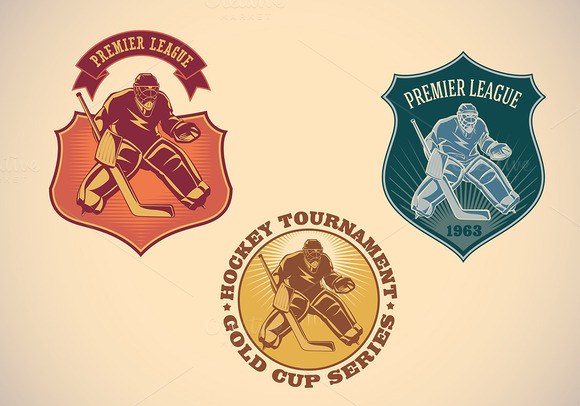 Set Of Ice Hockey Tournamet Labels