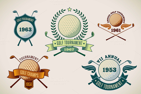 Set Of Golf Tournamet Labels