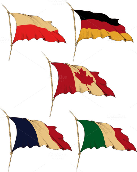 Flags Of Europe And Canada