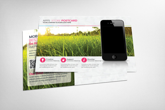 Mobiles Apps Postcard Template
