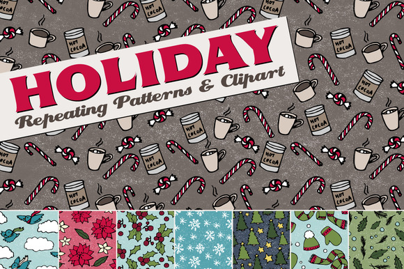 Holiday Christmas Patterns Clipart